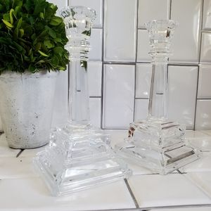 Lot of 2 Medium Weight Clear Glass Tiered Stemmed